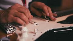 Man Playing Guitar in the Studio Stock Footage