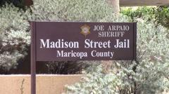 Madison Street Jail Sign Phoenix, Arizona Stock Footage