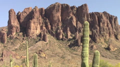Zoom out of the Superstition Mountains, Arizona Stock Footage