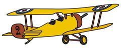 Vintage yellow biplane - stock illustration