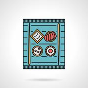 Flat color vector icon for sushi tray Stock Illustration
