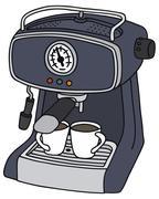 Blue electric espresso maker Stock Illustration