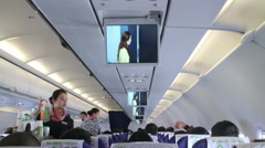 Flight Attendant Services on the Plane. HD Stock Footage