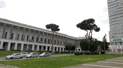 House on Piazza Guglielmo Marconi. EUR district. Rome, Italy. 1280x720 Stock Footage