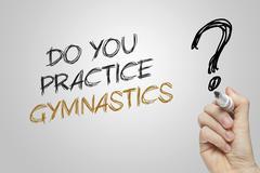 Hand writing do you practice gymnastics - stock photo