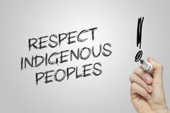 Hand writing  respect indigenous peoples Stock Photos