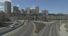 Edmonton Skyline on a clear day as traffic flows over Low Level Bridge. Stock Footage