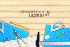 Architect wood table project with professional equipment background concept Stock Illustration