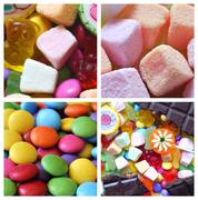 Collage of candies, smarties, chocolate and lollipops - stock photo