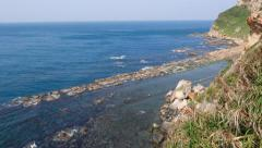 Ridge from the cliff, bird's eye view of rocky shore Stock Footage