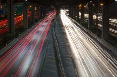 car lights at night - stock photo