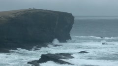 Rough seas over Yesnaby, Orkney. - stock footage