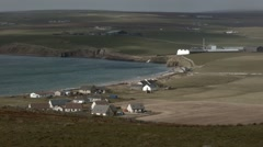 View overlooking the Hamlet of Scapa, Orkney Stock Footage