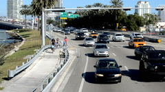 Traffic on the MacArthur Causeway  in Miami Stock Footage