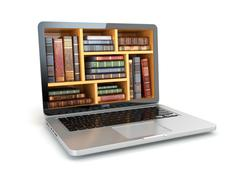 E-learning education internet library or book store. Laptop and vintage books Stock Illustration