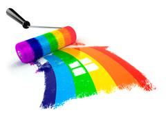 Construcrion concept.Roller brush with sign of house in rainbow colors. Stock Illustration