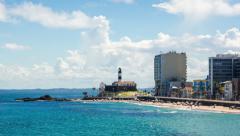 Timelapse View of Farol da Barra (Barra Lighthouse) in Salvador, Bahia, Brazil Stock Footage