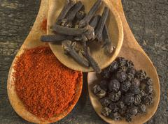 Stock Photo of Close up spices in wooden spoo
