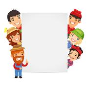 Stock Illustration of Farmers Presenting Empty Vertical Banner