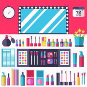 Flat women makeup cosmetics lying on the table with a mirror background concept - stock illustration