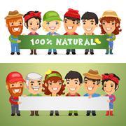 Farmers Presenting Horizontal Banner Stock Illustration