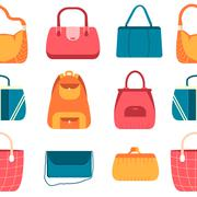 elegance fashion handbags and bags in flat seamless pattern concept icons set - stock illustration