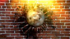 Wrecking ball is hitting into the wall Stock Footage