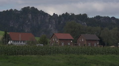 Housing Development in Saxon Switzerland National Park Germany Stock Footage