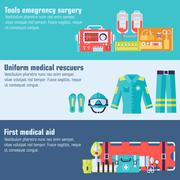 Medical rescue uniform and set first aid help equipment and instruments banners Stock Illustration