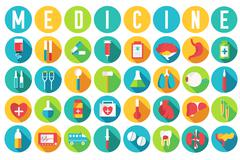 Set flat medical equipments and human anatomy body organs icons illustration Stock Illustration