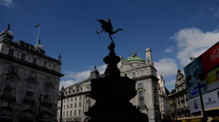 Eros Statuea at Piccadilly circus on a cloudy day timelapse - stock footage