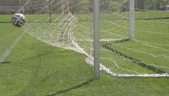 The ball flies into the goal slow motion Stock Footage