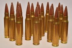 .308 Caliber Rifle Bullets - stock photo