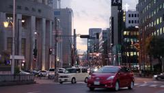 Traffic at osaka in the evening Stock Footage