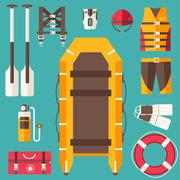 Emergency service paramedic lifeguard equipment tools. On flat style background Piirros