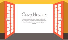 Vintage living colorful open door on house background illustration concept - stock illustration