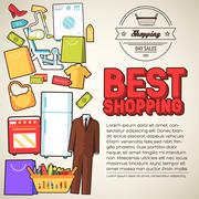 Many object purchased in the shop. Shopping abstract background concept. In flat - stock illustration