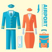 Airplane pilot and stewardess uniform on flat style background concept. Vector Stock Illustration