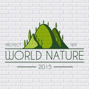 Ecology hill colored logo or template on a white wall. Vector illustration of Stock Illustration