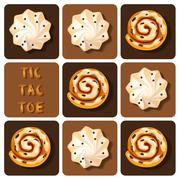 Tic-Tac-Toe of cinnamon roll and meringue - stock illustration