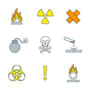colored outline hazardous waste symbols warning signs icons . - stock illustration