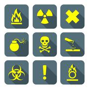 vector bright yellow color flat style hazardous waste symbols warning signs g - stock illustration