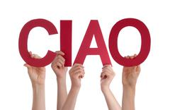 People Holding Straight Italian Word Ciao Means Goodbye - stock photo