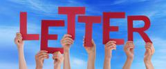 Many People Hands Holding Red Word Letter Blue Sky Stock Photos