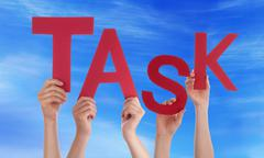 Many People Hands Holding Red Word Task Blue Sky - stock photo