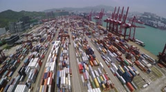 Container Port. Beautiful 4K Aerial Shot. Stock Footage