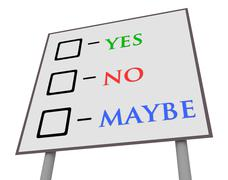 Yes No Maybe Sign - stock illustration