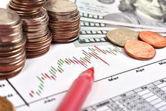 Coina and chart Stock Photos