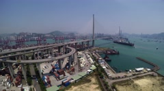 Beautiful 4K Aerial Shot of Hong Kong Container Port Area. Stock Footage