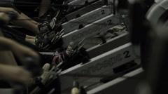Women using rowing machines Stock Footage